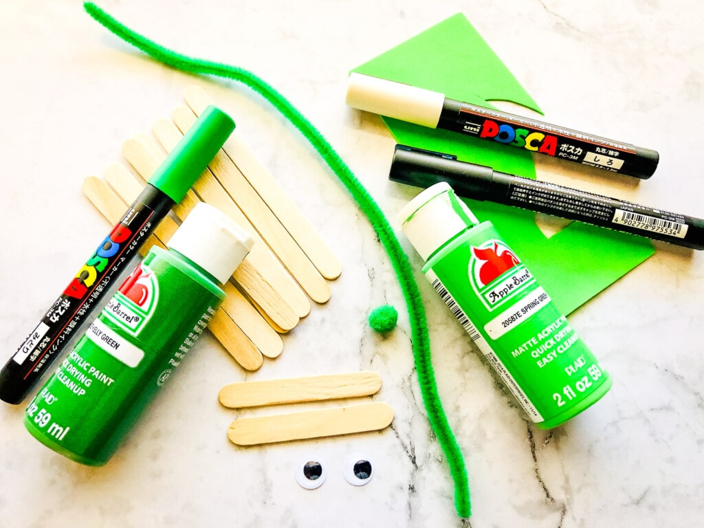 Overhead view of Grinch Popsicle Stick Craft Supplies