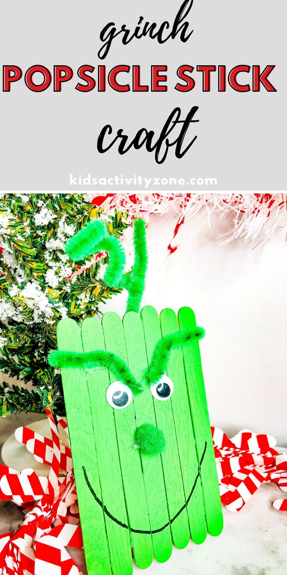 Grinch Popsicle Stick Craft is easy and fun! Tips on how to make it into an ornament if you'd like. Watch the movie, read the book and make this fun and easy Grinch Craft.