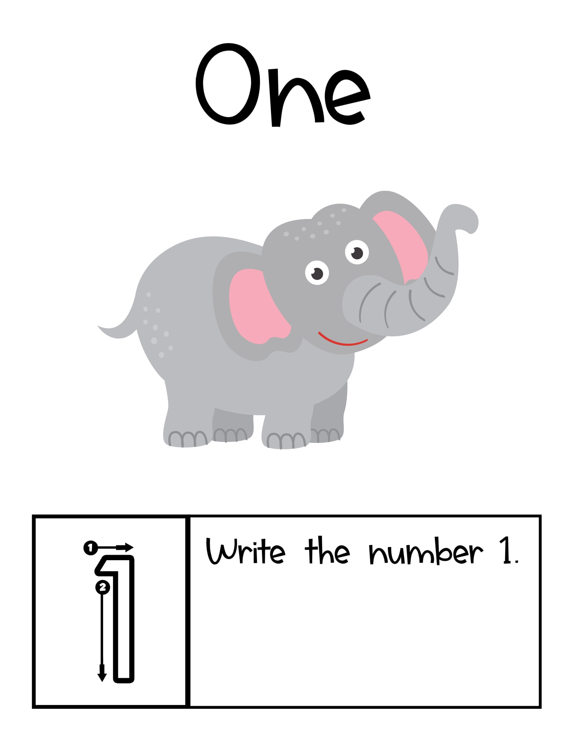 Elephant to count in jungle counting book