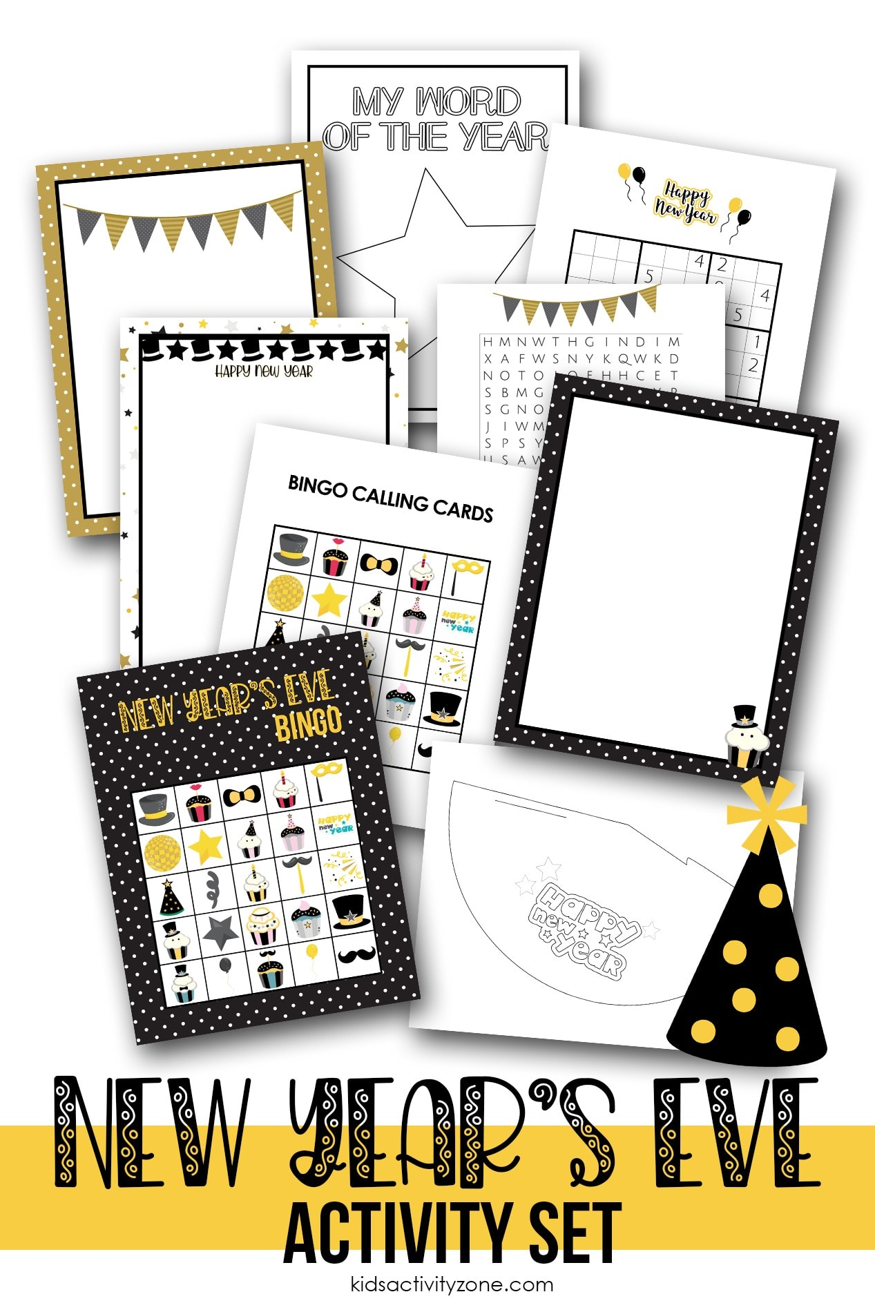 Pinterest collage image of New Year' Eve printable activities