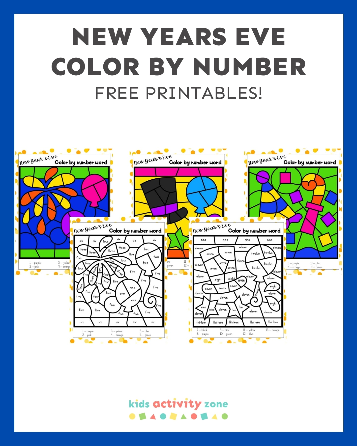 New Years Eve Color By Number - Featured Image Template showing printables in a collage