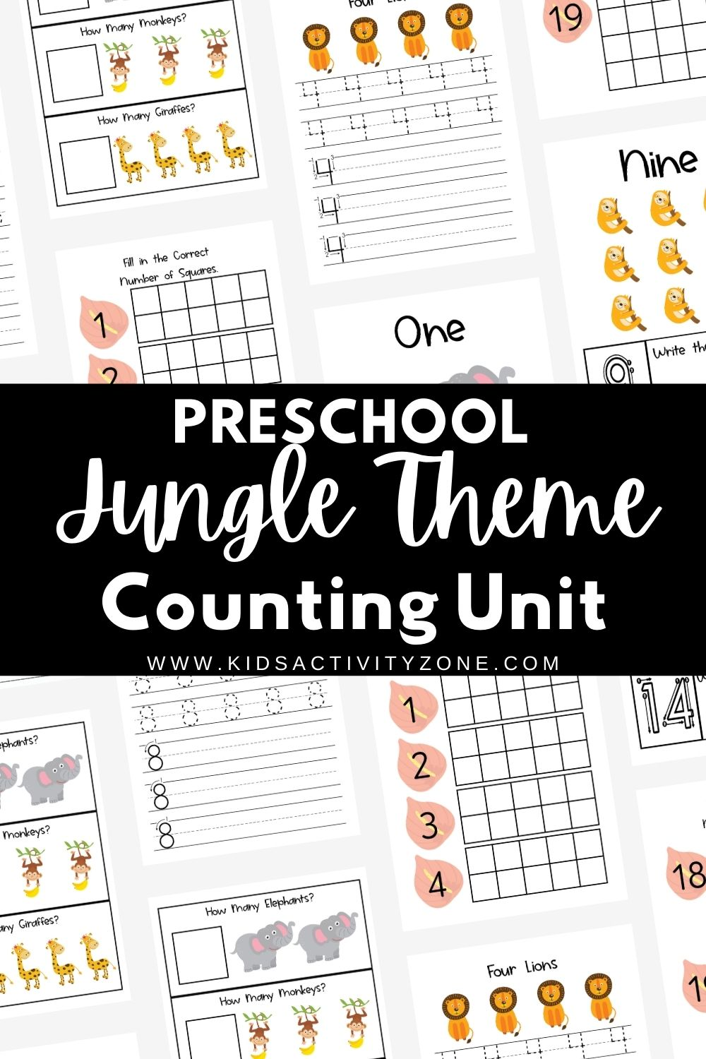 Looking for a fun, engaging preschool unit? If your child loves animals they will enjoy this preschool unit with jungle animals. Each day has jungle theme activities, books and more! Plus, a free printable counting book with a jungle theme to work on each day.