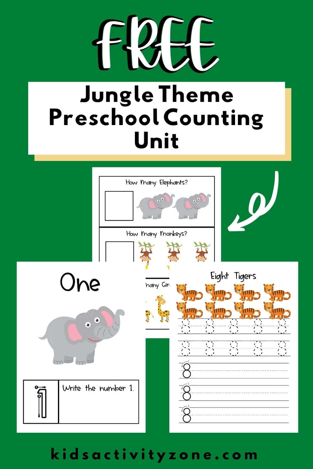 A fun jungle theme preschool unit that has a free printable counting book. This unit also has activities, books and more for each day to combine with the counting book. If your child loves animals they will love this preschool unit!