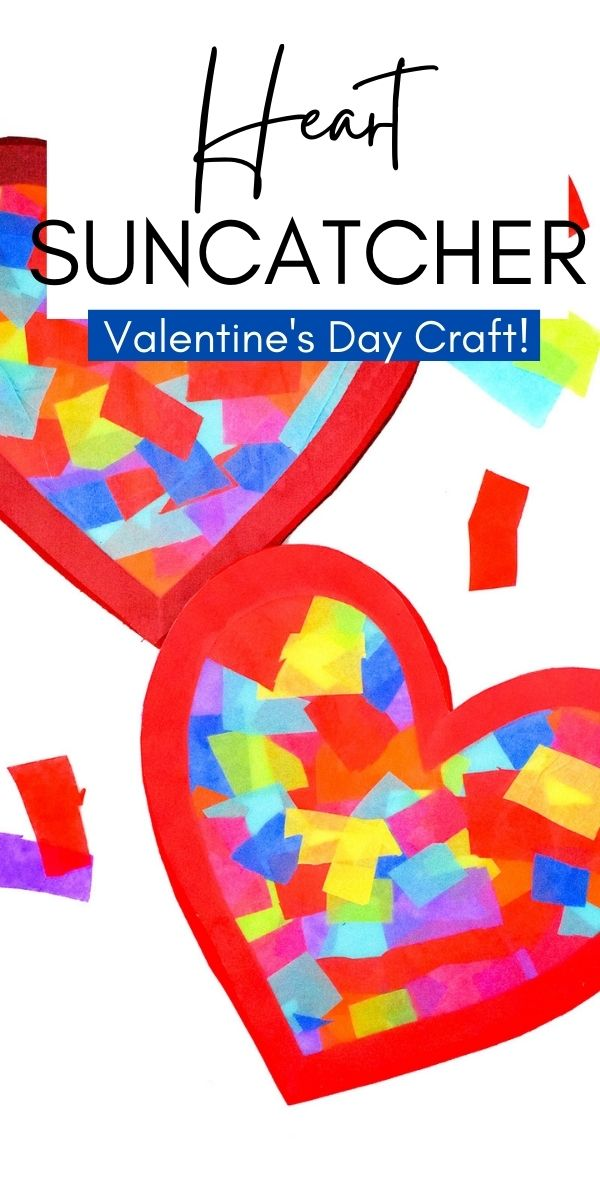Making a Heart Suncatcher to brighten your windows is an easy craft perfect for Valentine's Day! All you need is tissue paper, contact paper and cardstock to create this easy and cute craft.