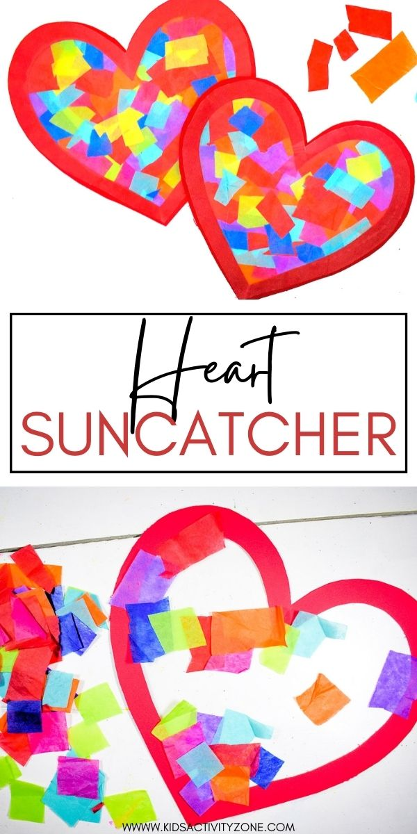 It doesn't get easier that this Heart Suncatcher Craft! It's perfect for decorating your windows for Valentine's Day! Simply cut out a heart outline and apply contact paper to one side, then stick squares of tissue paper to the contact paper and finish it with another piece of contact paper on the back. A no mess easy craft idea!