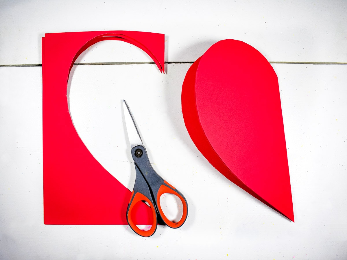 Heart cut out of red construction paper