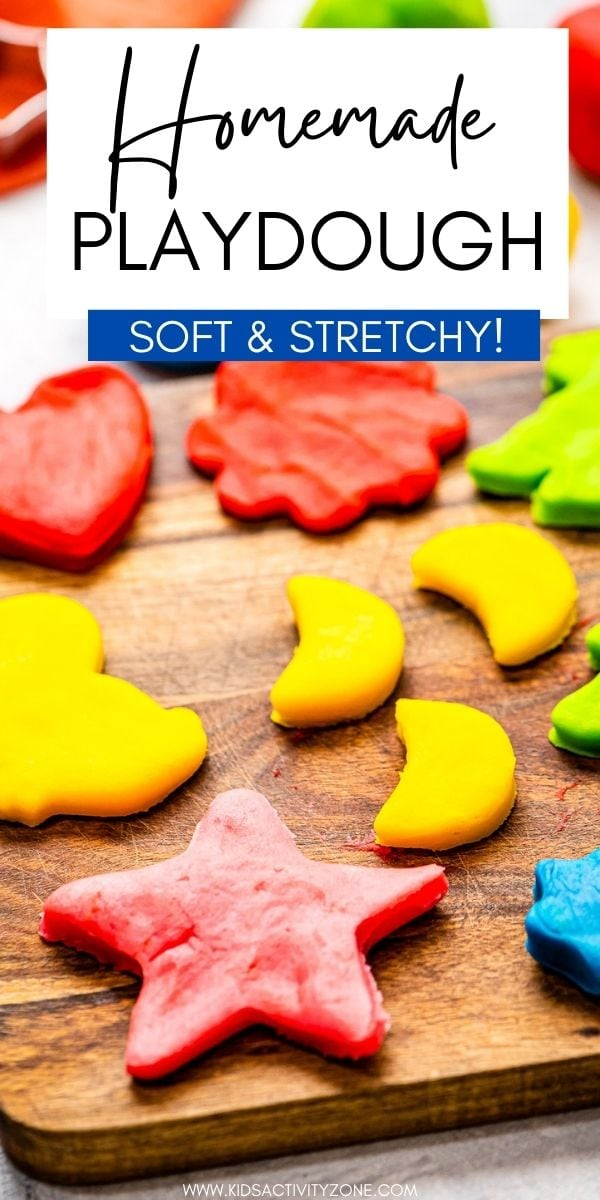 The best soft, stretchy homemade playdough recipe! Store it in wrapped in saran wrap and an airtight container and it will last up to three months. Have fun dying it any color you would like, add scents or glitter! This will be your go-to playdough recipe!