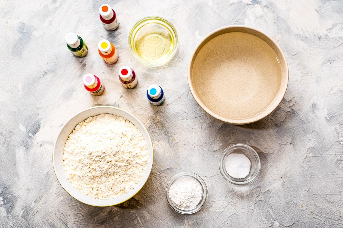 Overhead Image of Homemade Playdough Ingredients