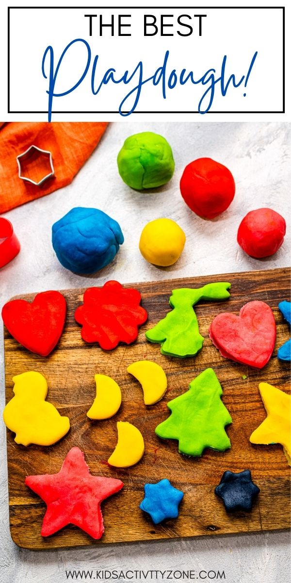 Soft homemade playdough recipe that's easy to make and lasts for up to three months! Dye it any color you want and have some fun!