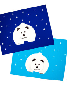 Two finished Polar Bear Paper Crafts