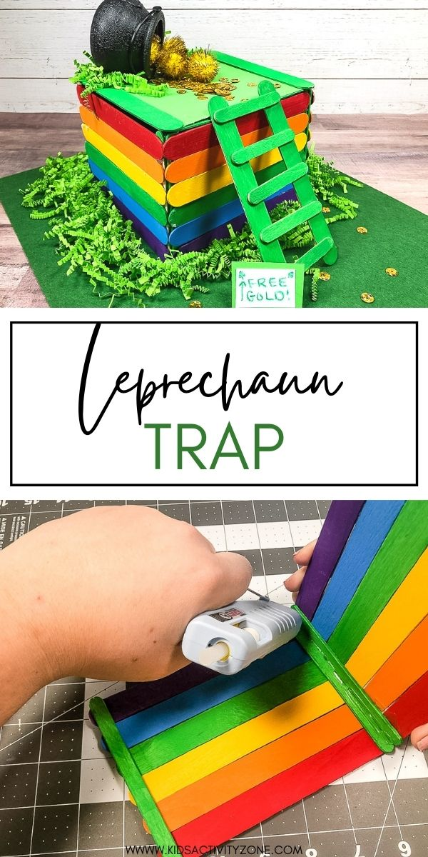 St. Patrick's Day is coming up soon so it's time to time to try to catch a leprechaun. This easy DIY Leprechaun Trap is full of rainbows lots green and gold to be as eye-catching and enticing as possible for the little gold-lover. We even made him a little ladder to help him scurry up and land right on the trap door!