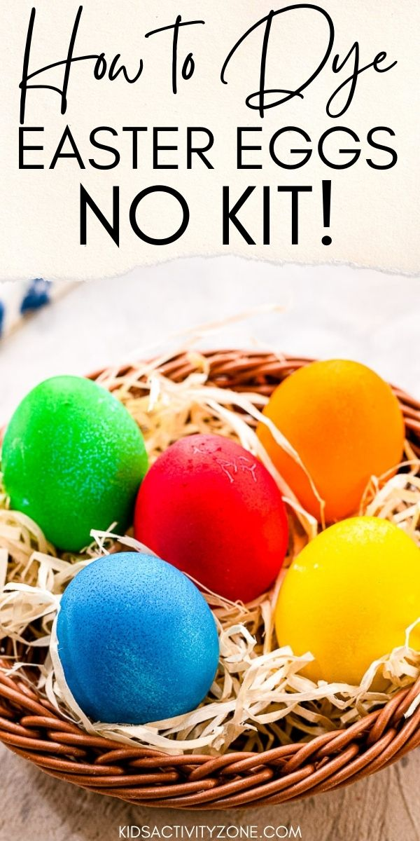 Did you know you can dye Easter Eggs with no store bought kit? These Easter Eggs are dyed with only food coloring, boiling water and vinegar. The result is vibrant Easter Eggs that are so easy and fun to make!