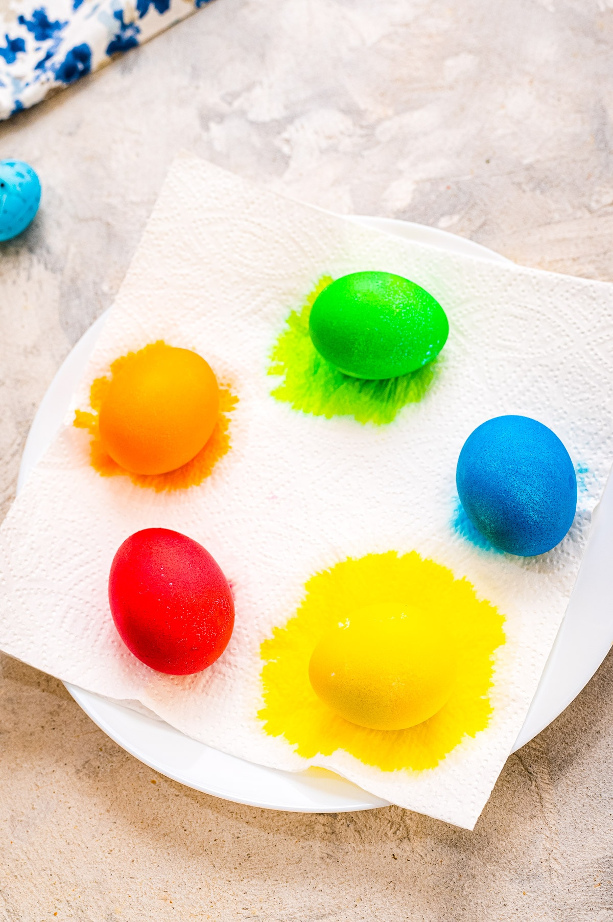 Dyed Easter Eggs on paper towels drying