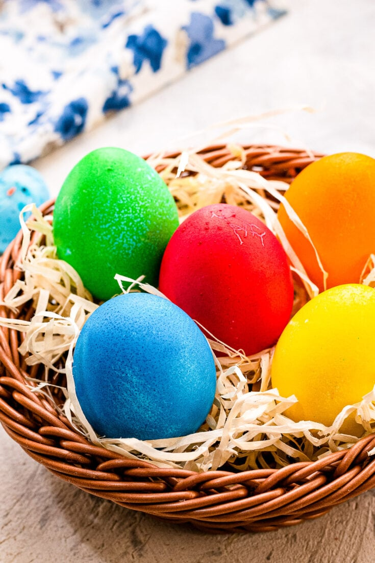 Brown Basket with Easter Eggs that are dyed
