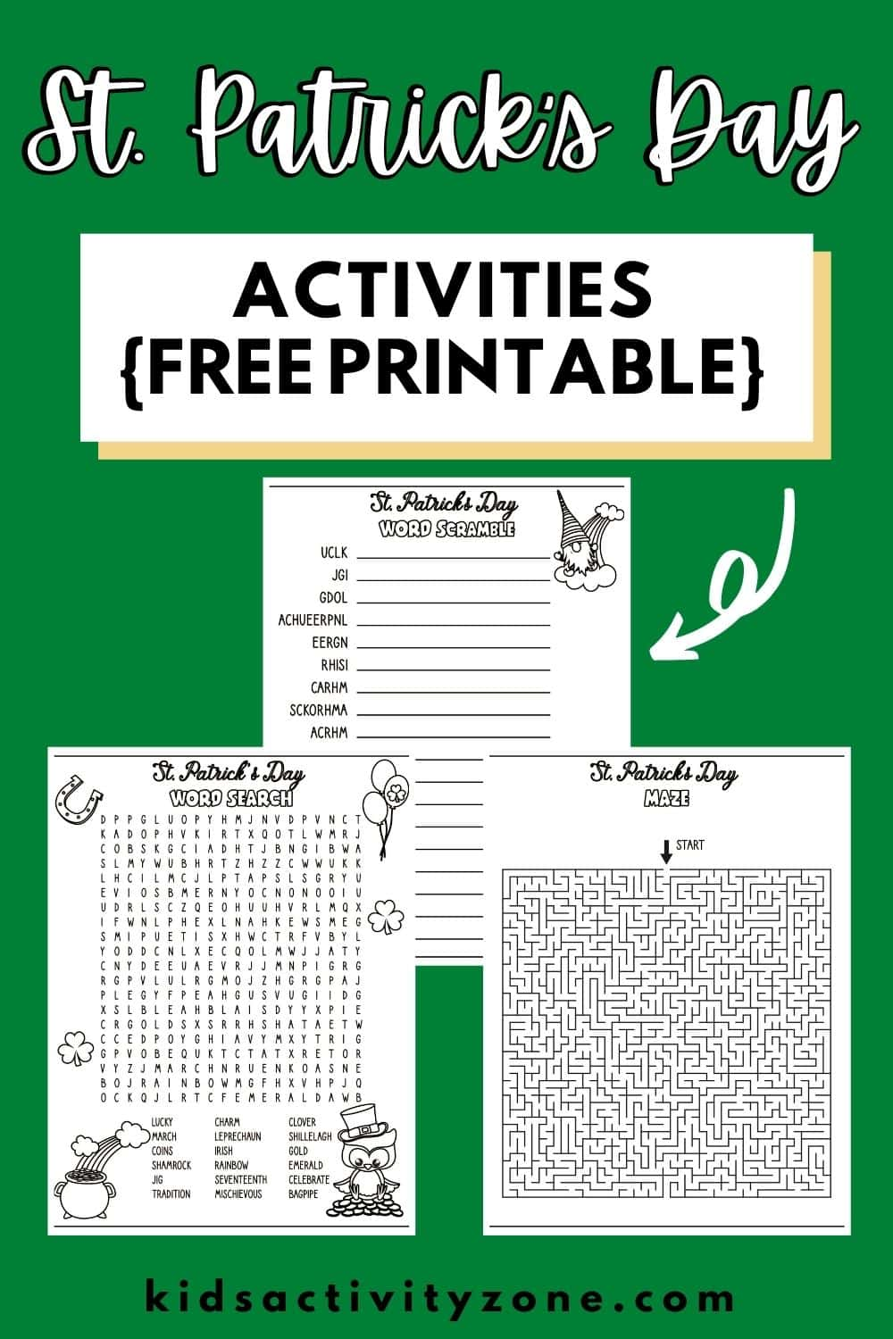 St. Patrick's Day Printable Activities! These free printables include word searches, mazes, anagrams and more. So much fun for classroom parties, groups, school activities and more.