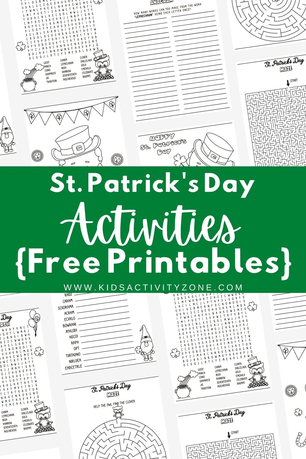 Grab these fun, themed St. Patrick's Day Activities. These free printables include mazes, coloring pages, word scrambles and more. The perfect addition to parties, fun for the classroom after finishing work and more.