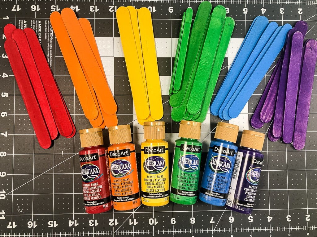 Painted popsicle sticks in rainbow colors