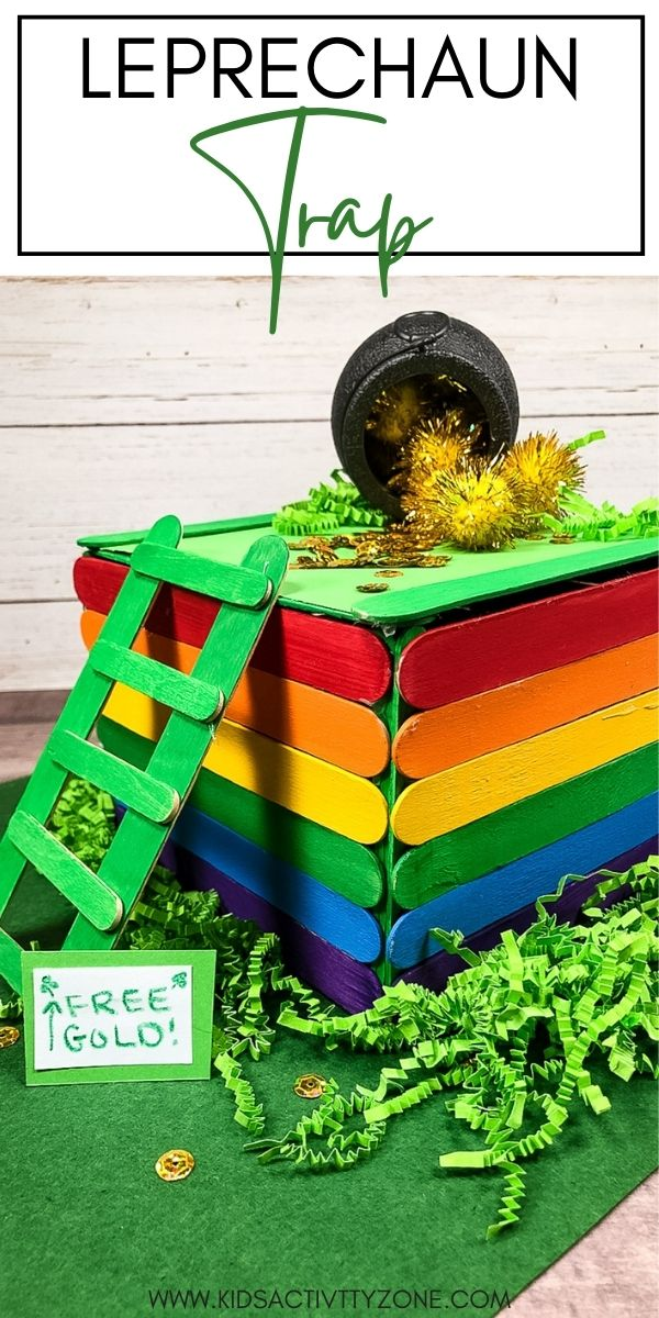 DIY Leprechaun Trap instructions so you can catch that sneaky leprechaun this St. Patrick's Day. With popsicles sticks and a few simple supplies you can make this rainbow colored leprechaun trap! Good luck at catching him!