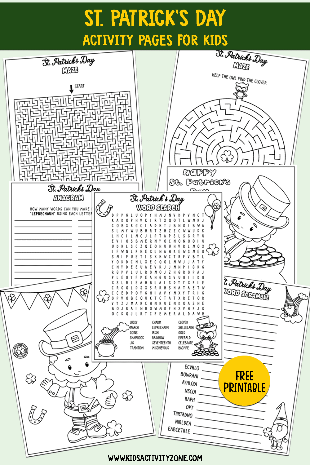 St. Patrick's Day Printable Activities Collage Image