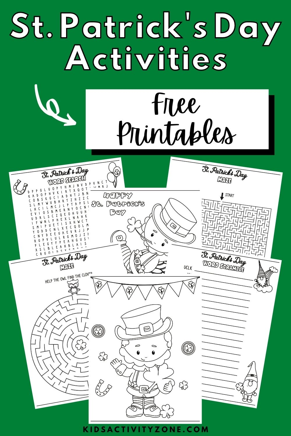 St. Patrick's Day Printable Activities for kids! These activities are so much and perfect to celebrate St. Patrick's Day with plus it's a free download. It includes coloring pages, mazes, word search, anagram and more! Print these off and have fun in your classroom, St. Patrick's Day party, at home or whenever!