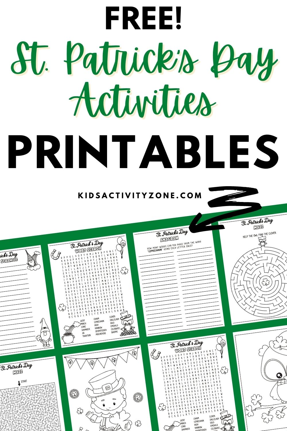 Free printable activities for St. Patrick's Day! This set of activities has coloring pages, word searches, anagrams and more. Kids will have so much fun with these fun themed activities for St. Patrick's Day.