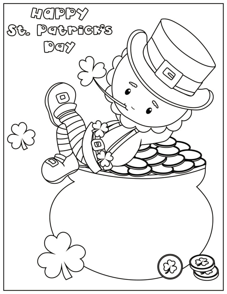St. Patrick's Day Activity Coloring Page with a Pot of Gold and Leprechaun