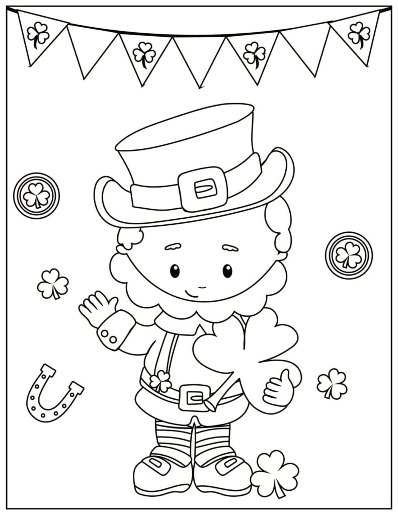 St. Patrick's Day Activity Coloring Sheet with Leprechaun