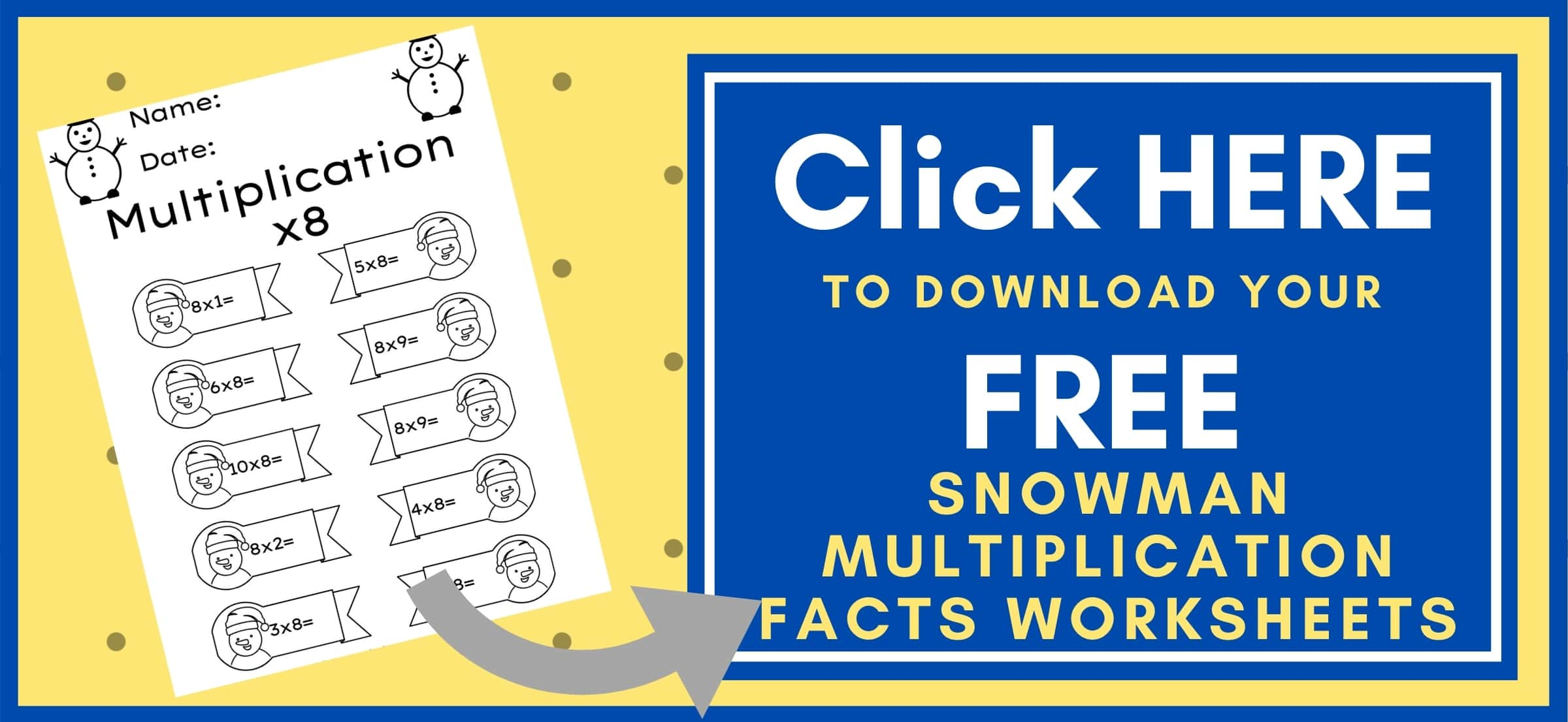 Snowman Multiplication Facts Worksheets Button to download