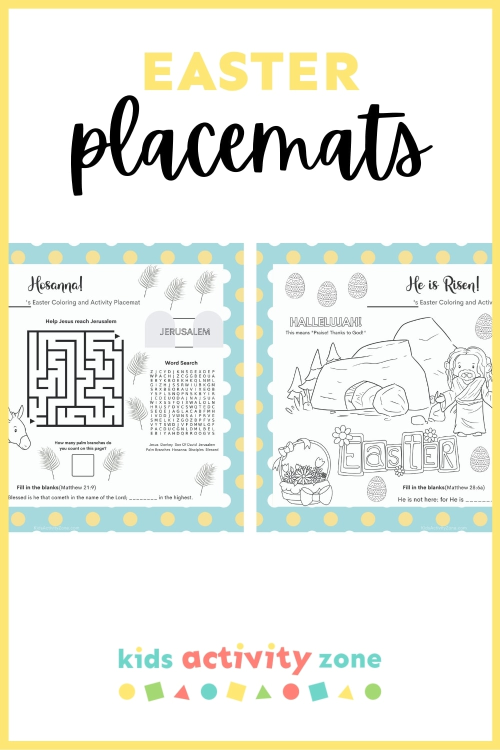 Print your own Easter Placemats that have Christian Based Activities and Coloring! Perfect Easter decor for your table that will keep kids and adults entertained during dinner.