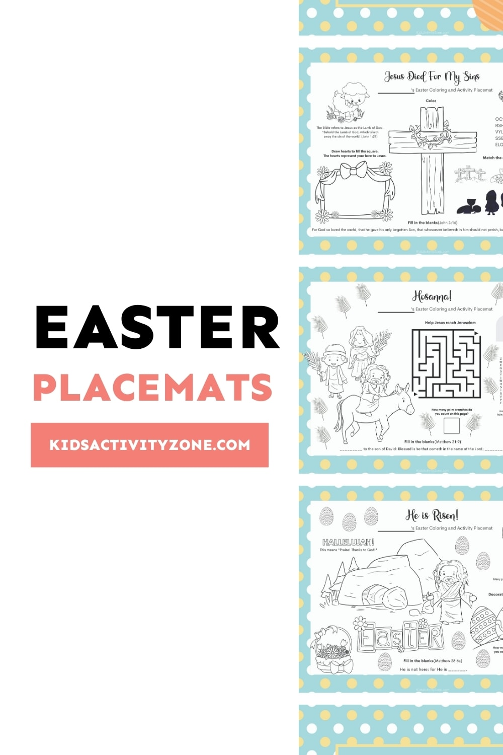 Free Printable Easter Placemats with Coloring and Activities are perfect for your tablescape! They keep little and big hands and minds busy during the Easter meal. Simply download, print and place at your table with a pencil and crayons.
