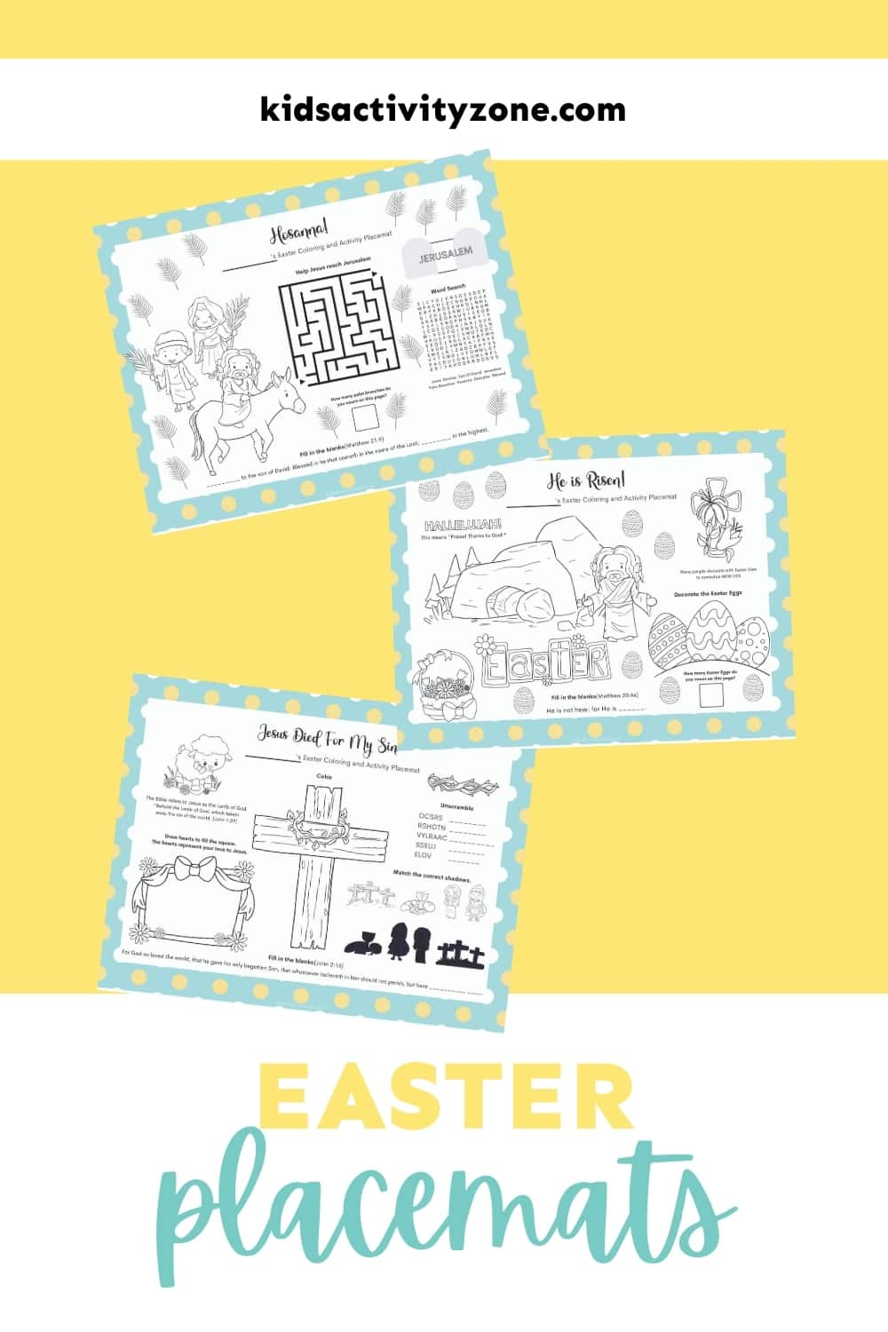 Easter Placemats with activities and coloring! The perfect tablescape activity for Easter dinner. Activities that are Christian based and will keep young and old entertained!