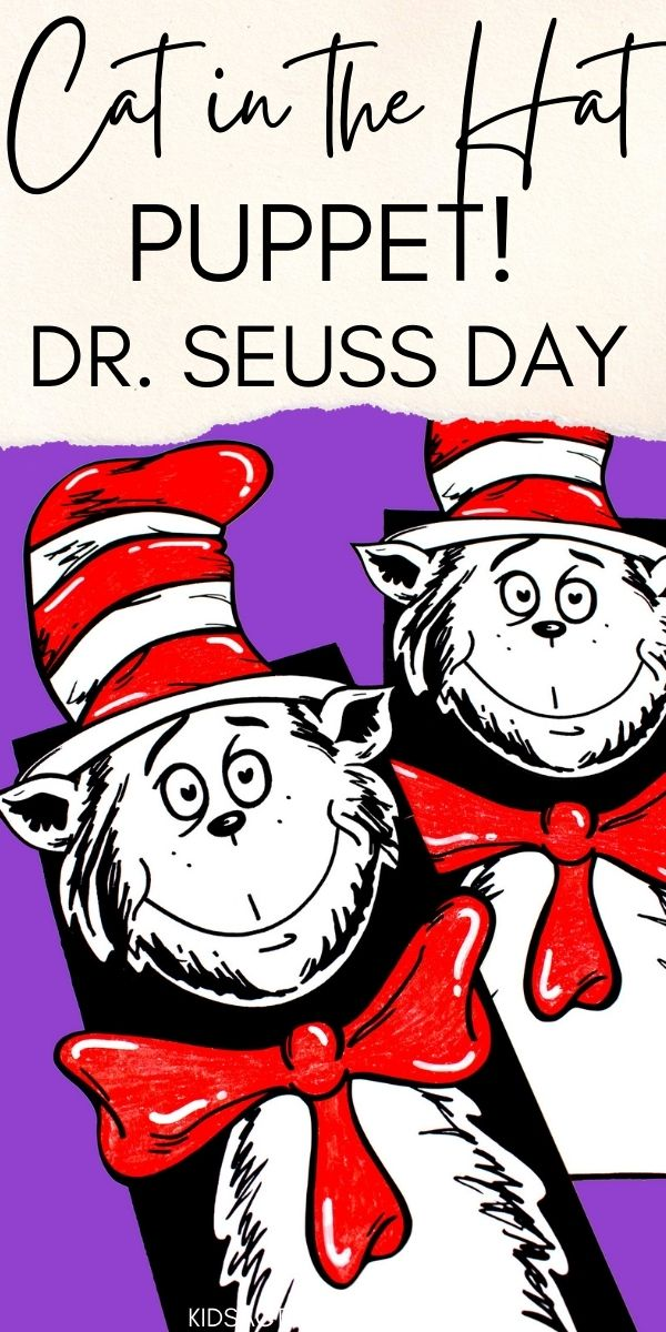 Cat in the Hat Paper Bag Puppet is a fun and easy activity for Dr. Seuss Day. A free printable makes this fun puppet easy to make and the perfect craft for the day.