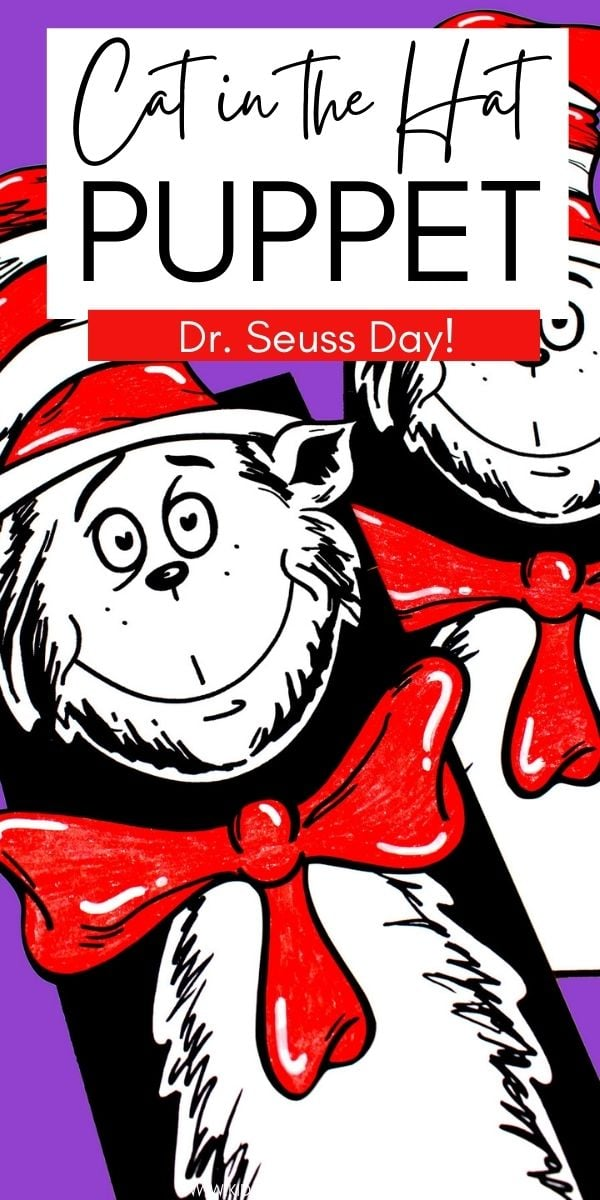 Celebrating Dr. Seuss's Birthday or National Read Across American Day? Make this Cat in Hat Puppet with a paper bag and free printable template.
