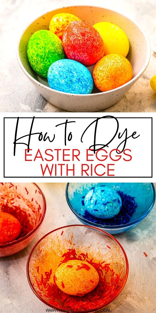 Dying Easter Eggs for Easter is so much fun especially when you use this easy method. Learn how to Dye Easter Eggs with Rice! Pretty, speckled eggs that are so easy to make when you shake rice, eggs and food dye together. The kids will making these!