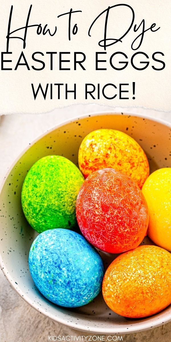 Using rice and food coloring to dye Easter Eggs created a pretty speckled looking egg. This easy and fun kid activity for Easter is such an easy way to dye Easter eggs. Using different color you can create layered effects and have so much fun.