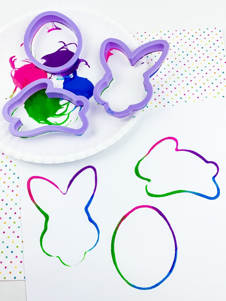 Cookie Cutter Painting on white paper in Easter images