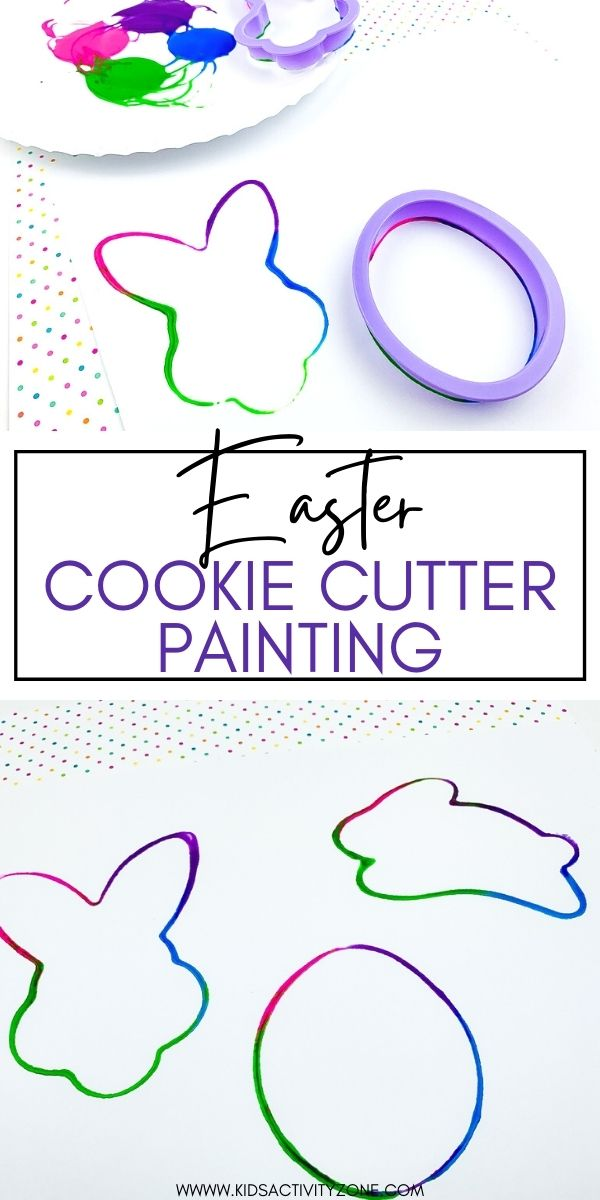 Keep toddlers busy with this quick and easy craft perfect for young children. Easter Cookie Cutter Painting only requires a few supplies that you already have at home! Simply dip the cookie cutters in paint and press down on paper to create a fun Easter Craft.