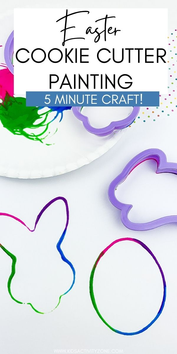 Easter Cookie Cutter Painting is the perfect Easter craft for toddlers and young kids! All you need is paint, white paper and cookie cutters. Dip the cookie cutters in paint and let them paint a picture. They'll have blast with this easy craft idea.