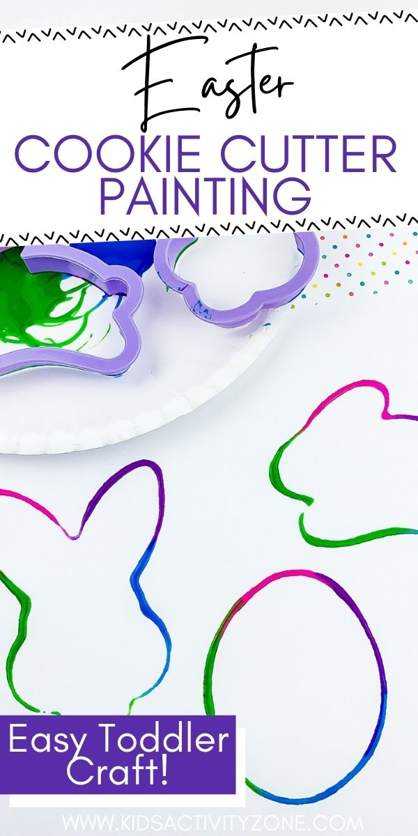 This easy Easter Craft is perfect for toddlers! An easy activity for at home or perfect for a preschool classroom. Dip the cookie cutters in paint and let them create! With no prep time and minimal supplies this is a super easy craft for kids.