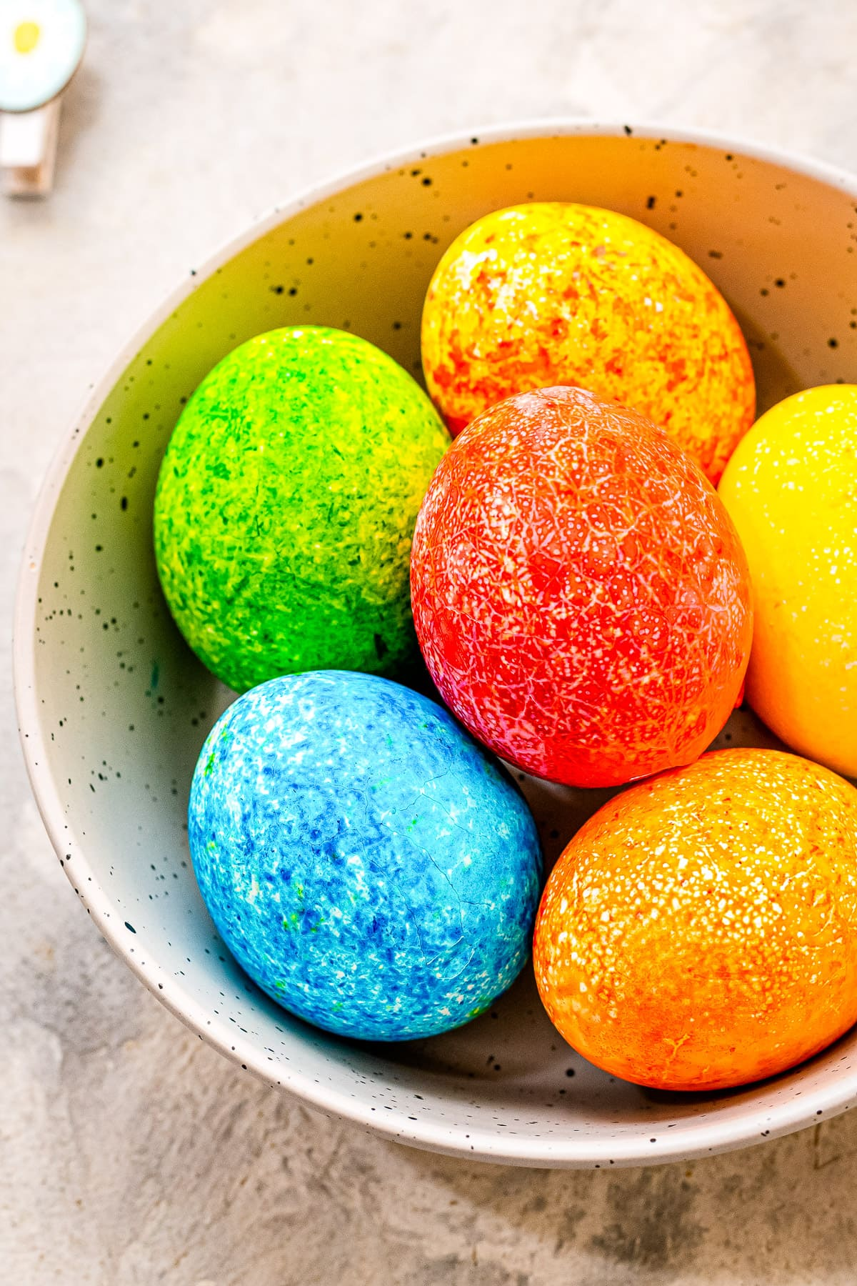 A bowl of Easter Eggs Dyed with Rice