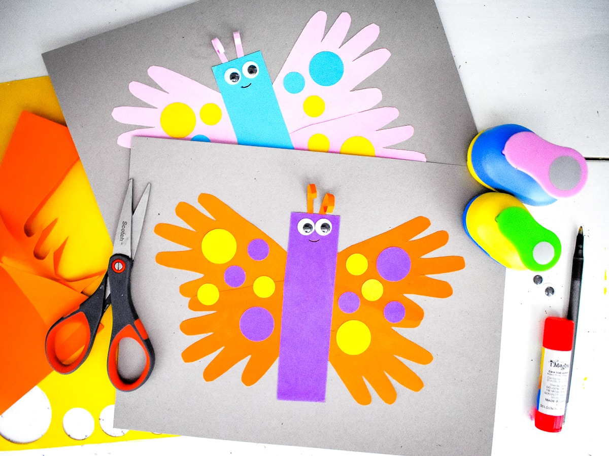 Handprint Butterfly with supplies around it