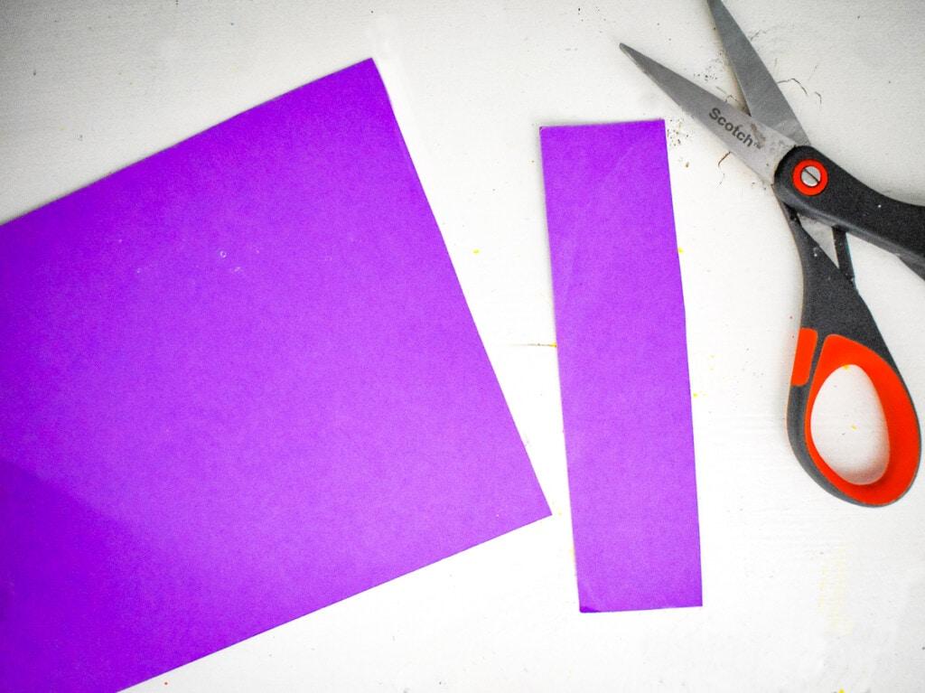 Purple rectangle cut out of purple cardstock