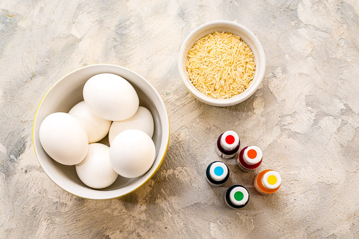 Supplies needed to make Easter Eggs Dyed with Rice