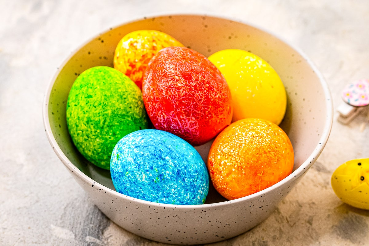 A bowl with Speckled Dyed Easter Eggs