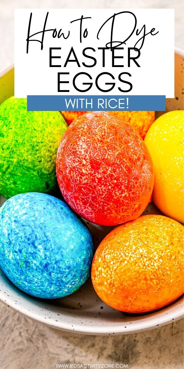 Did you know you can dye Easter eggs using rice to create a pretty speckled egg? It's so easy to do with just eggs, dye and rice. Such a fun and pretty way to create Dyed Easter Eggs! The kid will loves this fun and easy Easter activity.