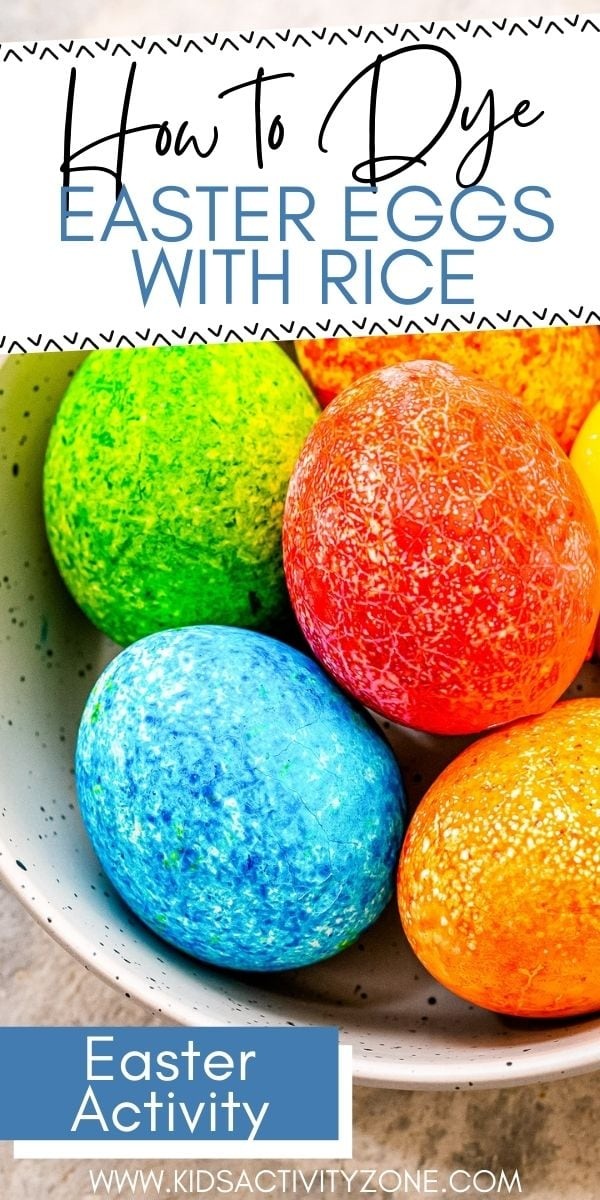 Learn how to dye Easter Eggs using food coloring and rice to create a pretty speckled looking egg. This easy and fun kid friendly Easter activity is always a hit! Layer the colors to see different ways the colors react.