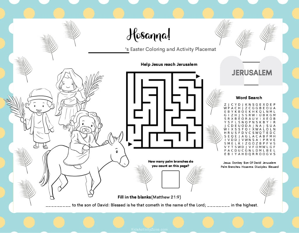Easter Placemat Activities and Coloring Pages