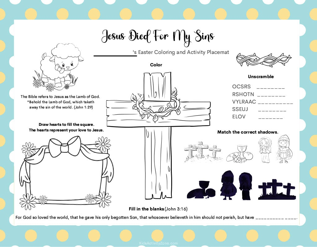 Easter Placemat Activities