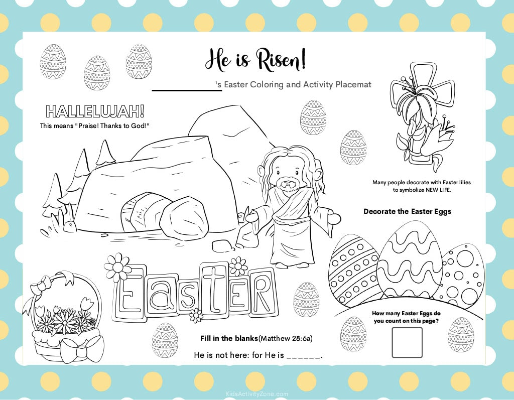 Easter Placemat with activities