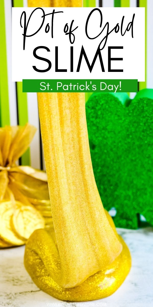 Pot of Gold Slime is the perfect fun, festive craft for St. Patrick's Day. Great for at home or in preschool as an activity. It uses gold glitter glue to give it's fun color! With only three ingredients this is an easy slime recipe!